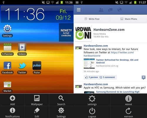Press the Pen button and scroll up to activate the menu setting of an app or home screen panel.