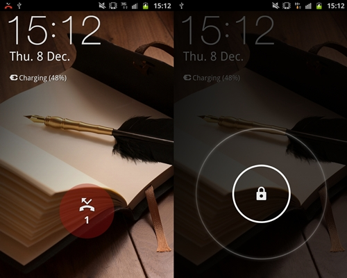 The lockscreen on the Samsung Galaxy Note (left) takes on a different design from the Galaxy S II. Unlock the screen by swiping anywhere on the screen. Notifications also appear on the lockscreen such as missed calls (left).