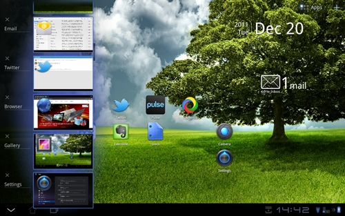 Similar to Lenovo's implementation on its K1 and ThinkPad Tablet, you can now close and quit apps from the multitasking menu. A handy feature that is missing on most Honeycomb tablets.