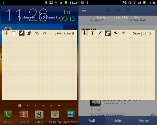 You can activate the S Memo from almost anywhere on the Samsung Galaxy Note. Shown here is the ability to bring up the S Memo from the home screen panel (left) and on the Facebook app (right). We found this feature handy in taking down quick notes when there is a sudden need to do so.