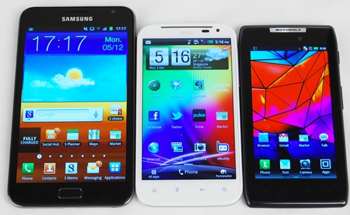 Samsung ups the ante on its competitors (HTC Sensation XL with 4.7-inch S-LCD display and Motorola Razr with 4.3-inch Super AMOLED Advanced display) with the mammoth 5.3-inch HD Super AMOLED display on its Galaxy Note.