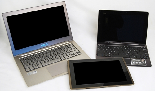 ASUS is not resting on its laurels. It continues to deliver more innovative products such as the Zenbook Ultrabook (left) and Eee Pad Transformer Prime (right). The barely one-year-old Transformer (center) is a good testament of the above statement.