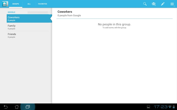 The Group tab gives you an overview of the groups of contacts you created on, for example, your Gmail account.