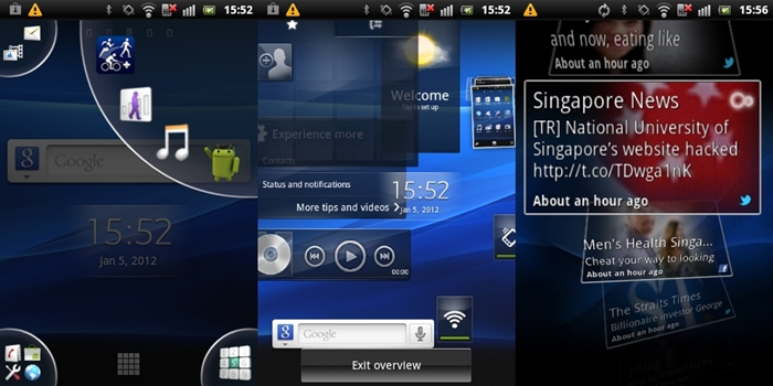 The first screenshot (left) shows the tab expanding to a quadrant, making it easier for you to select the shortcut. The second screenshot (center) shows the overview of all five home screen panels. It is similar to what you will see on HTC Sense UI or Samsung TouchWiz albeit more animated. Sony Ericsson also has its own Timescape UI (right screenshot), which aggregates your social feeds in one central location. Flip through the tiles to view the different social feeds.