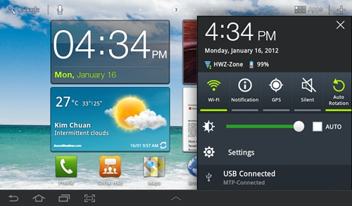 We are big fans of Samsung's implementation of the Notification menu in the Galaxy Tab 7.0 Plus. It presents some of the most frequently used functions such as Wi-Fi and screen rotation in an easy-to-use layout.