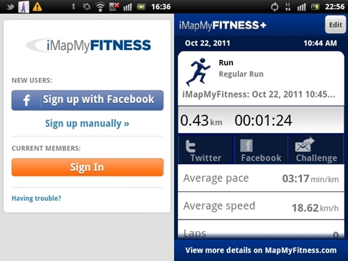 iMapMyFitness is able to provide performance statistics such as average pace and speed so that you can track your training progress. You can also share the results on Facebook and Twitter for the extra boost in motivation to do better.
