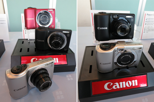 While the most basic among the easy-and-fun-to-use A series PowerShot cameras, the A800 (left, US$ 109.99) and A1300 (right, US$ 119.99) are by no means lightweights in the digital imaging field. Both pack 16-megapixel CCD sensors and offer a 28-140mm (5x optical) focal range with Digital IS technology to ensure quality snaps every time. The PowerShot A1300's defining feature is an optical viewfinder, something which you won't find on many of today's digital compacts.