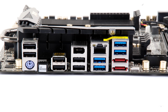 ASRock has equipped the board with a PS/2 keyboard port, clear CMOS button, six USB 2.0 ports, four USB 3.0 ports, IEEE 1394 port, Gigabit Ethernet, and two eSATA connectors. Wondering why the audio jacks are missing? They are supplied via ASRock's Game Blaster PCIe expansion card.