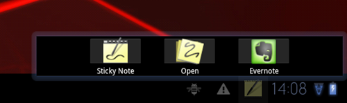 To make it easier for users to take notes, Motorola adds a shortcut bar at the bottom right corner of the screen for faster access to Sticky Note, Open and Evernote. It is a pity that this shortcut bar cannot be customized by the user.