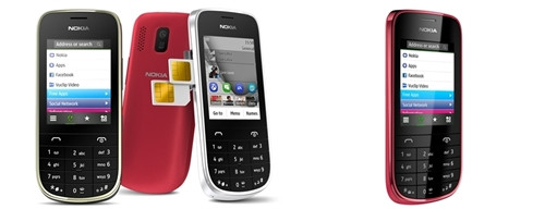 From left to right: Nokia Asha 202 and Nokia Asha 203. <br> Image source: Nokia