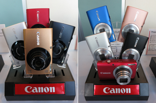 Leading the pack among Canon's affordable, yet feature-rich A series point-and-shoot camera models are the PowerShot A3400 IS (left, US$ 179.99) and the PowerShot A4000 IS (right, US$ 199.99). The A3400 IS is the first touchscreen-equipped model from the PowerShot A series, while the A4000 IS offers 8x optical zoom. Both are capable of shooting 16-megapixel stills and 720p movie clips.