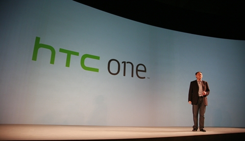 HTC CEO Peter Chou went on stage to unveil the ONE family of Android smartphones. Image source: HTC