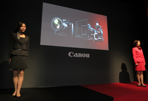 A pair of presenters eagerly introduced the Canon EOS-1D X and the Canon Cinema EOS C300 to the crowd.