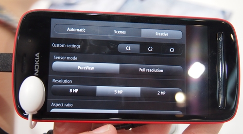 Using the PureView sensor mode allows you to switch among different resolutions (e.g. 8MP, 5MP and 2MP) using different aspect ratios (e.g. 4:3 or 16:9)