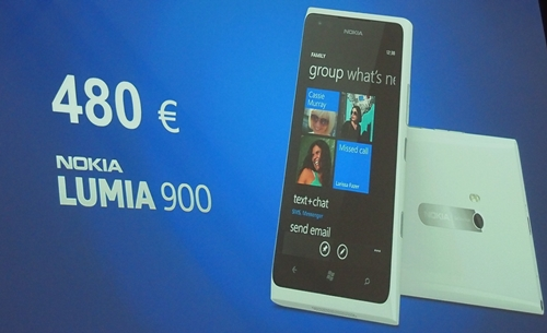The Nokia Lumia 900 is expected to be priced at about EUR 480 before subsides and taxes.