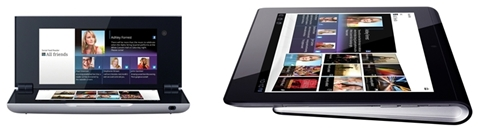 The Sony Tablet P (left) and Tablet S (right) have unconventional designs which make them stand out from the rest.