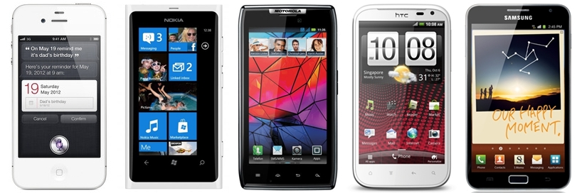 From left to right: Apple iPhone 4S, Nokia Lumia 800, Motorola Razr, HTC Sensation XL and Samsung Galaxy Note.