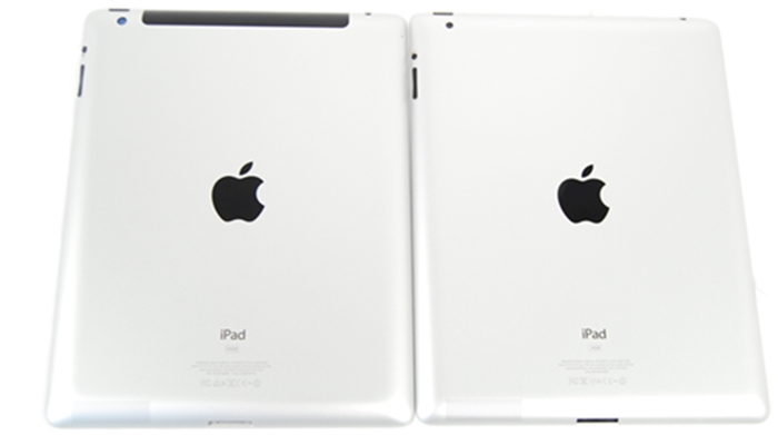 With the new iPad (left) side-by-side against the iPad 2, the differences are hardly apparent.