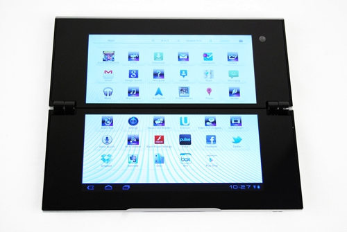 Other than the seamless flow of apps across two screens, the aesthetics of the user interface is uniform between the Sony Tablet S anad Tablet P.
