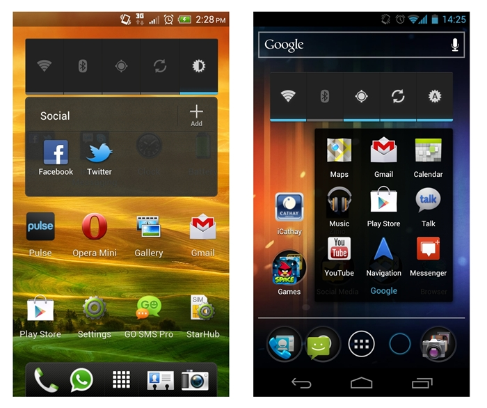 "HTC's folder implementation is more intuitive than stock Android 4.0 as it allows you to add more apps into the folder via the ""Add"" icon at the top right hand corner (left). On stock Android 4.0 (right), you have to drag apps into the folder."