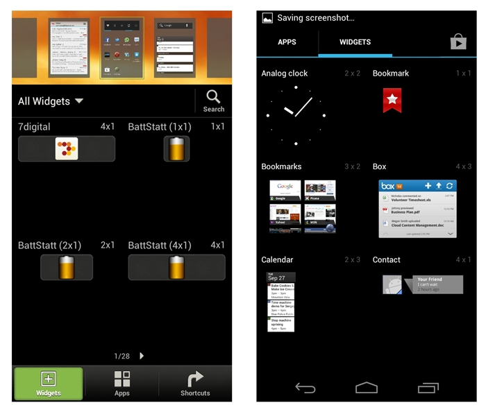 Just press and hold on any home screen to add apps, widgets or shortcuts for Sense 4.0 (left). This is slightly different for the stock Android 4.0 UI, whic requires you to access the Apps Launcher (right). We prefer HTC's method over the stock Android 4.0 for its convenience to add multiple items to any of the seven home screens.