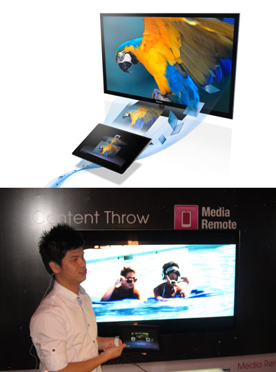 """Content Throw is a handy new feature that leverages on the interconnectivity of a modern user's devices. It basically lets you """"throw"""" content stored in or streamed on your laptop, tablet, or smartphone into the bigger BRAVIA screen for a better, easier-to-share viewer experience. It also lets you use your device as a remote control for the TV."""