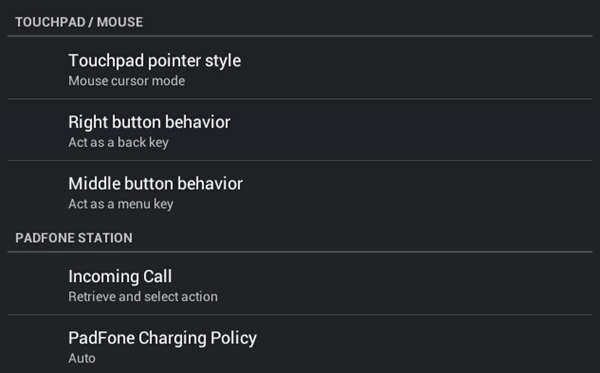 Under the ASUS customized settings, you can change the touchpad pointer style (gesture or mouse cursor mode), presetting the right button to show context menu or as a back key.