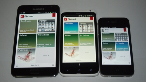 Left to right: Samsung Galaxy Note, HTC One X and the Apple iPhone 4.