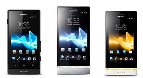 Left to right: Sony Xperia Sola, Xperia P and Xperia U.<br>Image source: Google