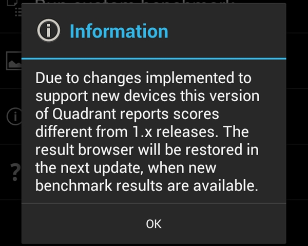 Quadrant benchmark was updated towards the end of May, with the latest update on 9 June 2012.