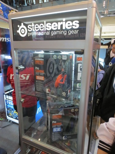 Pictured are units of SteelSeries Siberia gaming headset inside a showcase.