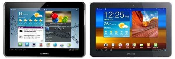 The Samsung Galaxy Tab 2 (10.1) (left) and its predecessor, the Galaxy Tab 10.1 (right).