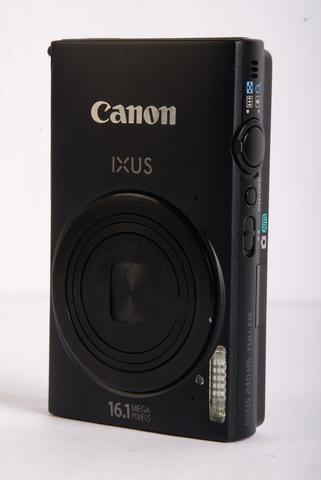 The Canon Digital IXUS 240 HS exudes an aura of subtle elegance, being dressed up in matte-black exterior.