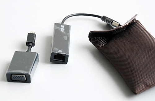 Here are the included converters to provide the Zenbook Prime with a full sized VGA and Ethernet ports. They connect via micro-USB and USB respectively.