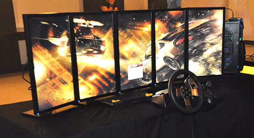 A multi-monitor setup which uses select ASUS components and Armaggeddon's peripherals.