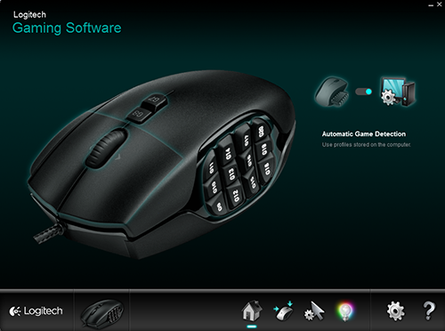 Here's a screenshot of the menu for Logitech's gaming software. It uses a straightforward and easy to use interface.