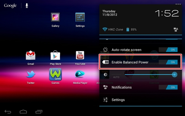 There is a toggle switch for enabling Balanced Power mode on the Toshiba Regza Tablet AT270. According to Toshiba, enabling the Balanced Power mode will throttle the brightness of the screen regardless of the adjusted brightness, and lowers the CPU multiplier to increase battery mileage.