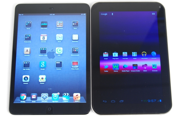 The Toshiba Regza Tablet AT270 (right) is a compelling alternative to the Apple iPad Mini (left) if you do not mind its price.