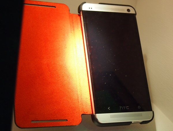 Seen here is the flip cover for the HTC One.