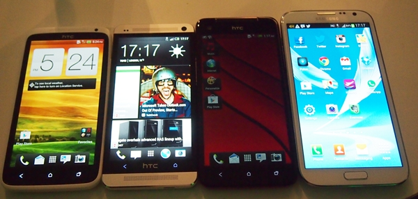 From left to right: the HTC One X, One, Butterfly and Samsung Galaxy Note II.