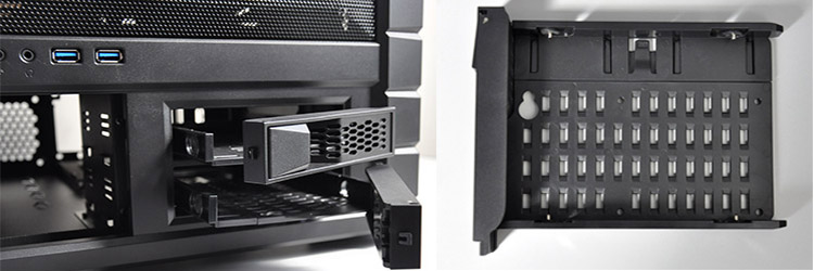 Beside the 5.25-inch bays, there are two slots for Cooler Master's renowned X-Dock hot-swap bays to house two 3.5- or 2.5-inch hard drives. These offer easy and painless installation because of their slide-and-lock mechanism.