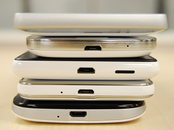Most of the phones have their micro-USB ports located at the bottom except for the Sony Xperia SP, which has it on the top left corner. From Top to bottom: Sony Xperia SP, Samsung Galaxy S4 mini, Nokia Lumia 820, LG Optimus F5, HTC One SV,