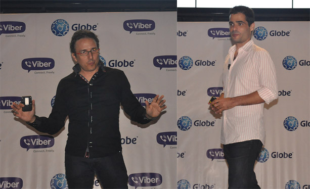 Peter Bithos (left), Senior Advisor for Consumer Business at Globe Telecom, and Talmon Marco (right), CEO of Viber, happily announced the Viber-Globe exclusive partnership and launched the new GoUNLI offer last night.