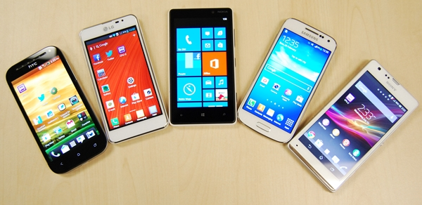 The front-facing shot of the five phones. <br> From left to right: HTC One SV, LG Optimus F5, Nokia Lumia 820, Samsung Galaxy S4 mini, Sony Xperia SP.
