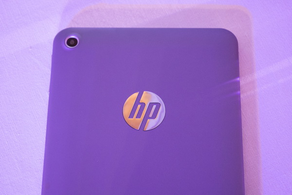Instead of the main camera, the metallic HP logo is the one occupying near the middle portion of the back of the tablet. The main camera is situated on the upper left portion.