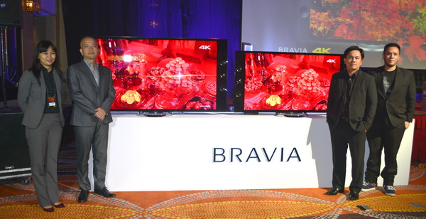 Posing for the camera with the X Series BRAVIA 4K televisions are (from left to right) Sony Philippines' Zhorida Lipayon, Home Entertainment Product Marketing; Yasushi Asaoka, President and Managing Director; Larry Secreto, Director, National Sales and Marketing; and filmmaker Pepe Diokno.