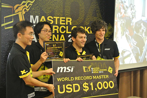 The US$ 1,000 Championship prize pool was split into three since each of them broke a single world record.