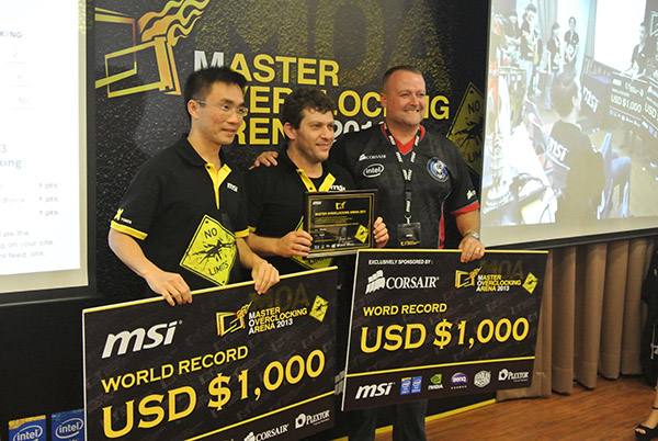 Rbuass was awarded a total of US$ 2,000, US$ 1,000 for breaking the Unigine Heaven record and another US$ 1,000 for using Corsair memory to break the record.