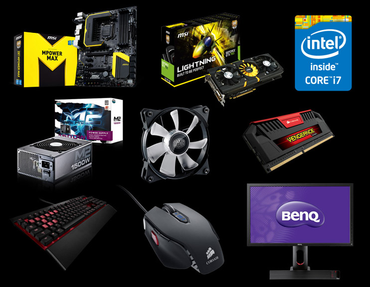 Participants' systems were built using the MSI Z87 MPOWER MAX and N780 Lightning, Corsair Vengeance Pro Series, Vengeance K70 and Vengeance M65, Cooler Master Silent Pro M2 1500W and JetFlo 120, BenQ XL2420T, and Plextor M5 Pro Xtreme.