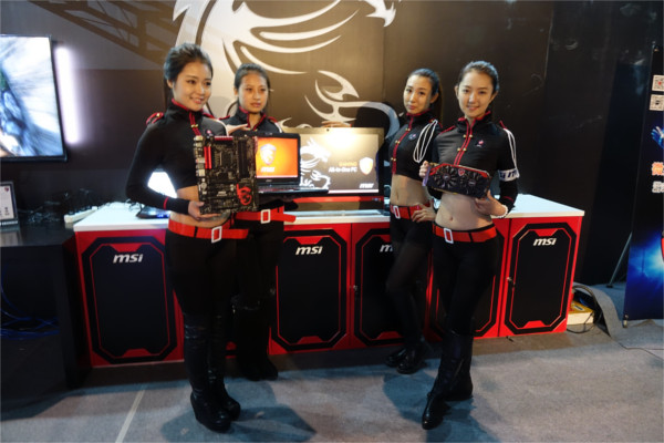 Models posing with MSI's gaming products.